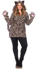 Plus Size Fleece Leopard Costume