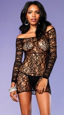 Web Net Long Sleeve Chemise