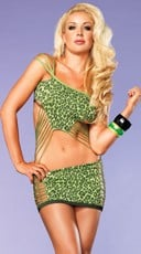 Shredded Neon Green Leopard Chemise