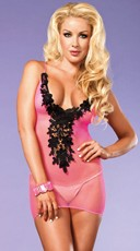 Fishnet Chemise with Embroidery