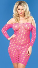 Plus Size Sheer Dotted Seamless Mini Dress