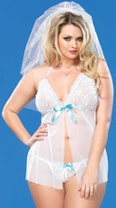 Plus Size Bridal Babydoll with Matching G-String