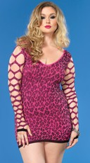 Plus Size Seamless Leopard Print Bodycon Dress