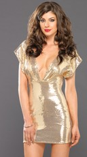 Gold Sequin Mini Dress with Kimono Sleeves