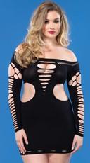 Plus Size Shredded Long Sleeve Mini Dress