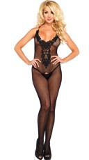 Net Bodystocking with Embroidery