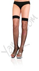 Fishnet Thigh Highs With Satin Bows On Backseam