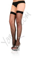Plus Size Fishnet Thight Highs with Backseam