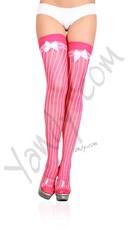 Lycra Sheer Pin Stripe Thigh Hi W/bow Top