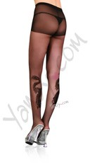 Dragon Tattoo Sheer Pantyhose with Rhinestones