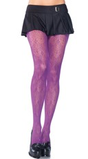 Plus Size Neon Patterned Fishnet Pantyhose