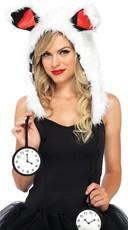 White Furry Rabbit Hood