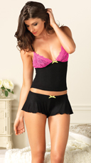 Jersey Cami With Contrast Lace Cups and Shorts