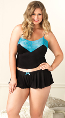 Plus Size Jersey And Lace Cami And Boyshorts