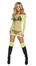 Long Sleeve Fishnet Mini-Dress
