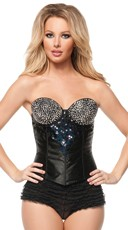 Black Corset With Silver Rhinestones