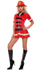 Red Fire Fighter Costume