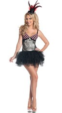 Deluxe Silver Burlesque Dancer Costume