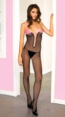 Black and Pink Lace Up Bodystocking