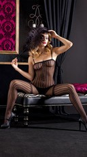 Sheer Nylon Body Stocking With Pin Stripes And Garter Design