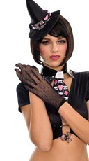 Black Dot Mesh Gloves