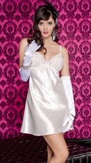White Satin Mini Dress With Lace Bra Accent