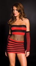 Red and Black Striped Chemise