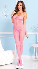 Pink Net Bodystocking with Criss Cross Pattern