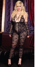 Plus Size Romantic Floral Lace Body Stocking