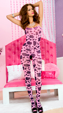 Hot Pink Cow Print Bodystocking