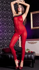 Red Animal Print Bodystocking