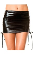 Metallic Adjustable Side Mini Skirt