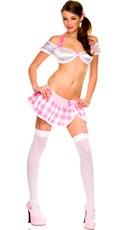 Naughty School Girl Bra and Skirt Costume