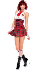 School Girl Plaid Halter Dress Costume