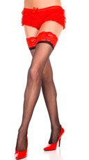 Plus Size Sheer Thigh High with Contrast Lace Top