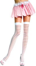 Sheer and Opaque Striped Thigh Highs
