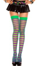 Opaque Striped Thigh High