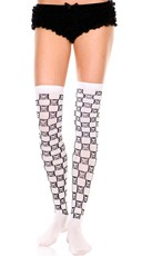 Crossbones Checkered Thigh Highs