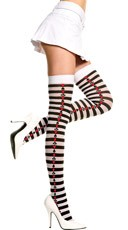 Striped Thigh High with Poker Sides