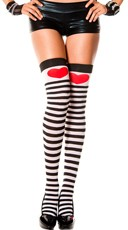 Striped Thigh Highs with Large Heart