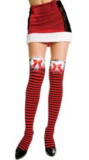 Striped Thigh Highs with Bow on Marabou