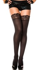 Opaque Thigh Highs with Lace Top