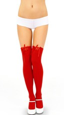 Opaque Thigh Highs with Lace Up Band