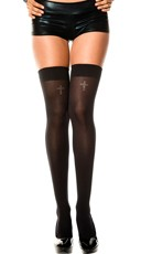 Opaque Thigh Highs with Silver Cross