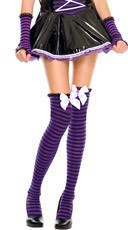 Striped Thigh Highs with Mini Ruffle and Bow