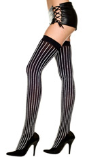 Opaque Thigh Highs with Furry Stripes
