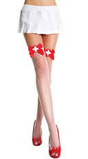 Nurse Diamond Net Thigh Highs with Bow
