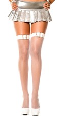 White Fishnet Thigh Highs with Buckle