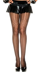 Net and Floral Lace Pantyhose