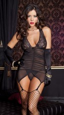 Sheer Halter Garter Dress